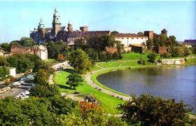 Krakow's Wawel Castle on the banks of the Vistula River.