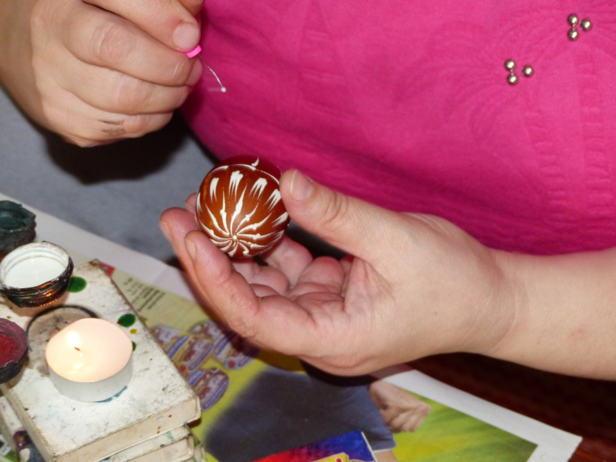 Eggs are decorated in natural dyes and age-old designs.